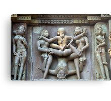 Kamasutra carvings on Khajuraho temple walls Metal Print