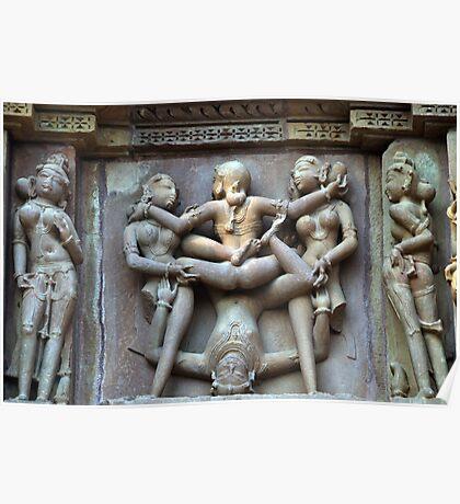 Kamasutra carvings on Khajuraho temple walls Poster
