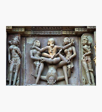Kamasutra carvings on Khajuraho temple walls Photographic Print