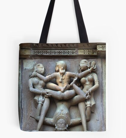 Kamasutra carvings on Khajuraho temple walls Tote Bag