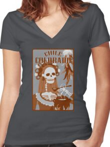 chile colorado : orange sunset Women's Fitted V-Neck T-Shirt