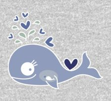 Whimsical Cute Indigo Purple Pregnant Mommy Whale One Piece - Long Sleeve