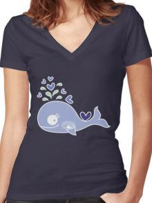 Whimsical Cute Indigo Purple Pregnant Mommy Whale Women's Fitted V-Neck T-Shirt