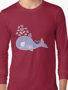 Whimsical Cute Indigo Purple Pregnant Mommy Whale Long Sleeve T-Shirt