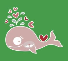 Whimsical Cute Twins Baby Pink Pregnant Whale Kids Clothes