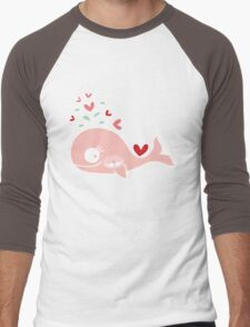 Whimsical Cute Twins Baby Pink Pregnant Mommy Whale Men's Baseball ¾ T-Shirt