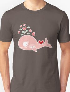 Whimsical Cute Twins Baby Pink Pregnant Mommy Whale Unisex T-Shirt