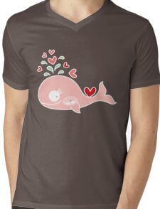 Whimsical Cute Twins Baby Pink Pregnant Mommy Whale Mens V-Neck T-Shirt