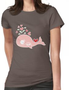 Whimsical Cute Twins Baby Pink Pregnant Mommy Whale Womens Fitted T-Shirt