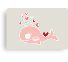 Whimsical Cute Twins Baby Pink Pregnant Whale Canvas Print