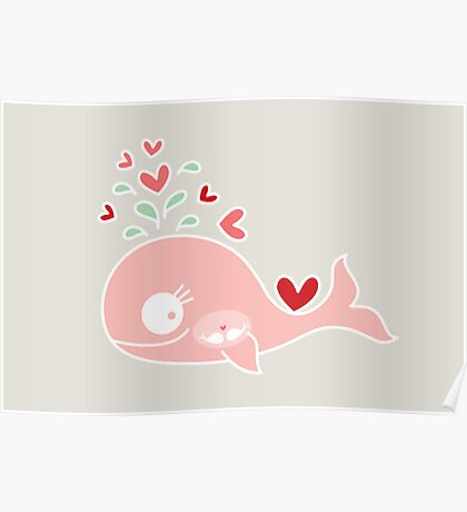 Whimsical Cute Twins Baby Pink Pregnant Mommy Whale Poster