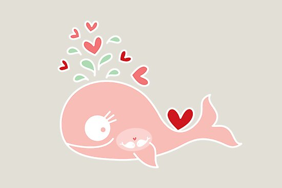 Whimsical Cute Twins Baby Pink Pregnant Mommy Whale by fatfatin