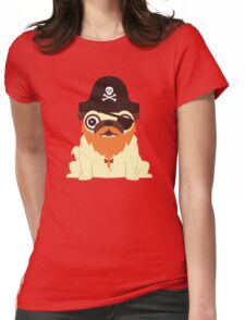 Pug in a crew Womens Fitted T-Shirt