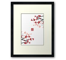 Red Sakura Cherry Blossoms & Chinese Double Happiness Framed Print