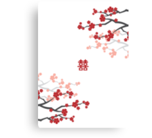 Red Sakura Cherry Blossoms & Chinese Double Happiness Canvas Print