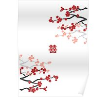 Red Sakura Cherry Blossoms & Chinese Double Happiness Poster