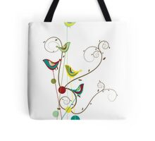 Colorful Whimsical Summer Birds & Swirls Tote Bag