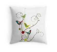 Colorful Whimsical Summer Birds & Swirls Throw Pillow