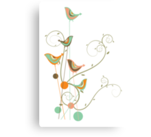 Colorful Whimsical Summer Birds & Swirls 2 Canvas Print