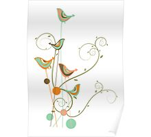 Colorful Whimsical Summer Birds & Swirls 2 Poster