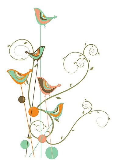 Colorful Whimsical Summer Birds and Swirls 2 by fatfatin
