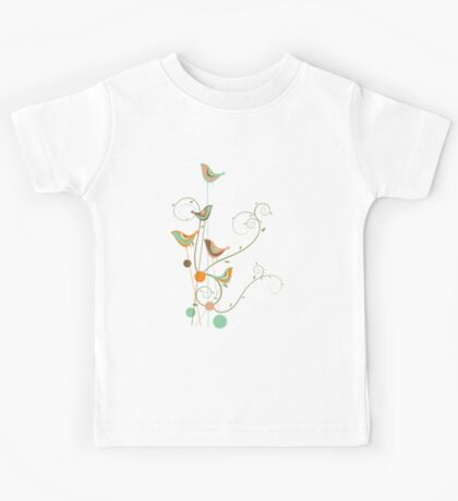 Colorful Whimsical Summer Birds and Swirls 2 Kids Clothes