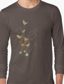 Colorful Whimsical Summer Birds and Swirls 2 Long Sleeve T-Shirt