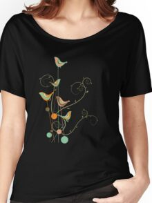Colorful Whimsical Summer Birds and Swirls 2 Women's Relaxed Fit T-Shirt