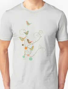 Colorful Whimsical Summer Birds and Swirls 2 Unisex T-Shirt