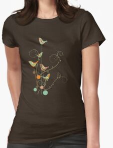 Colorful Whimsical Summer Birds and Swirls 2 Womens Fitted T-Shirt