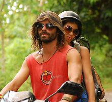 Hippie Couple on Motorbike by ladyogaga