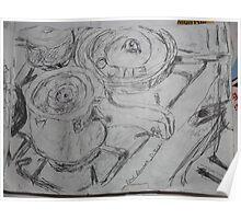 Still Life II -(310313)- White A5 sketchpad/Black biro pen Poster