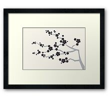 Black Sakura Cherry Blossoms Flowers Framed Print