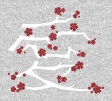 Red Sakura Cherry Blossoms Chinese Ai / Love (White) Kids Clothes