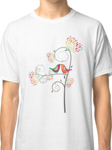 Whimsical Summer Colorful Kissing Birds Classic T-Shirt