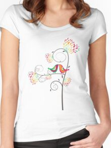 Whimsical Summer Colorful Kissing Birds Women's Fitted Scoop T-Shirt