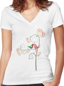 Whimsical Summer Colorful Kissing Birds Women's Fitted V-Neck T-Shirt