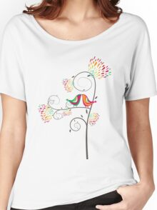 Whimsical Summer Colorful Kissing Birds Women's Relaxed Fit T-Shirt