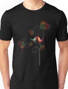 Whimsical Summer Colorful Kissing Birds Unisex T-Shirt