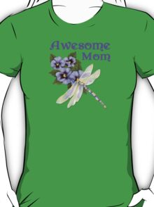 Purple Pansies for Awesome Mom T-Shirt