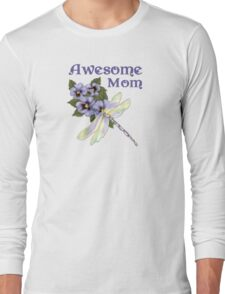 Purple Pansies for Awesome Mom Long Sleeve T-Shirt