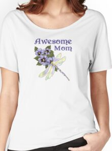 Purple Pansies for Awesome Mom Women's Relaxed Fit T-Shirt