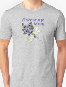 Purple Pansies for Awesome Mom Unisex T-Shirt