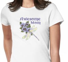 Purple Pansies for Awesome Mom Womens Fitted T-Shirt