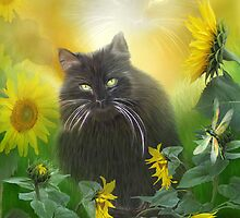 Kitty In The Sunflowers by Carol  Cavalaris