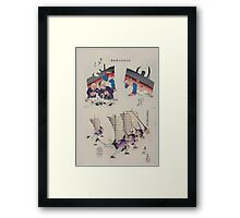 Humorous pictures showing damaged Chinese battleships receiving first aid and Chinese men running with sails  as from Chinese junks on their backs and carrying rifles 002 Framed Print
