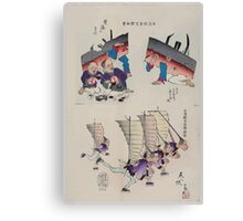 Humorous pictures showing damaged Chinese battleships receiving first aid and Chinese men running with sails  as from Chinese junks on their backs and carrying rifles 002 Canvas Print