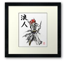 Girl Ronin drawing Sword Sumie and calligraphy Framed Print