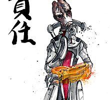 Mass Effect Mordin Sumie style with Japanese Calligraphy by Mycks