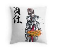 Mass Effect Mordin Sumie style with Japanese Calligraphy Throw Pillow